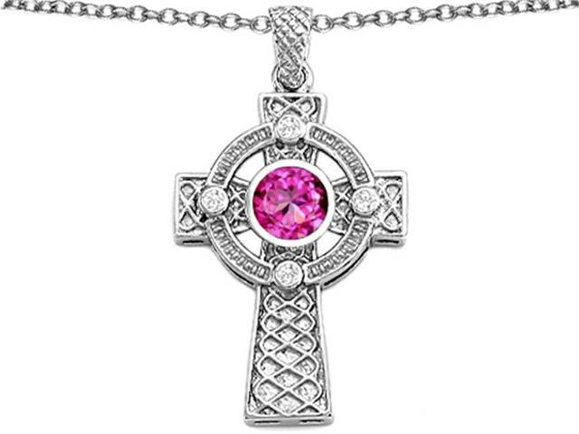 Star K Celtic Cross Pendant Necklace with 7mm Round Created Pink Sapphire in Sterling Silver