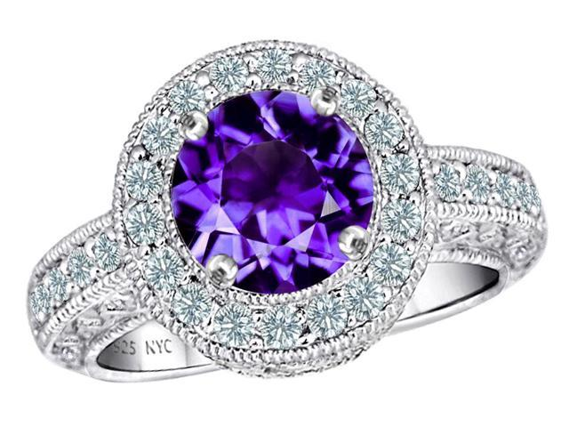 Star K 7mm Round Simulated Amethyst Ring in Sterling Silver Size 7