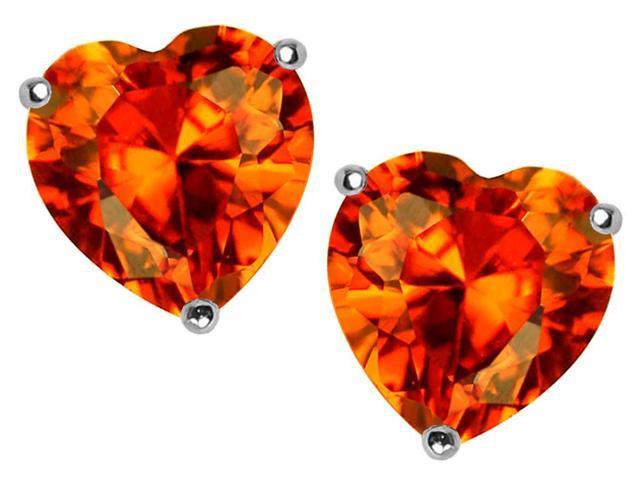 Star K 7mm Heart Shape Simulated Mexican Orange Fire Opal Earrings Studs in Sterling Silver