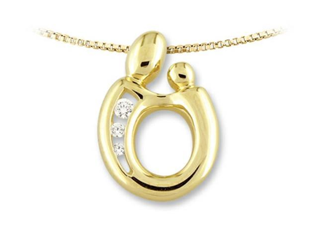 Large Mother and Child Pendant by Janel Russell in 14 kt Yellow Gold