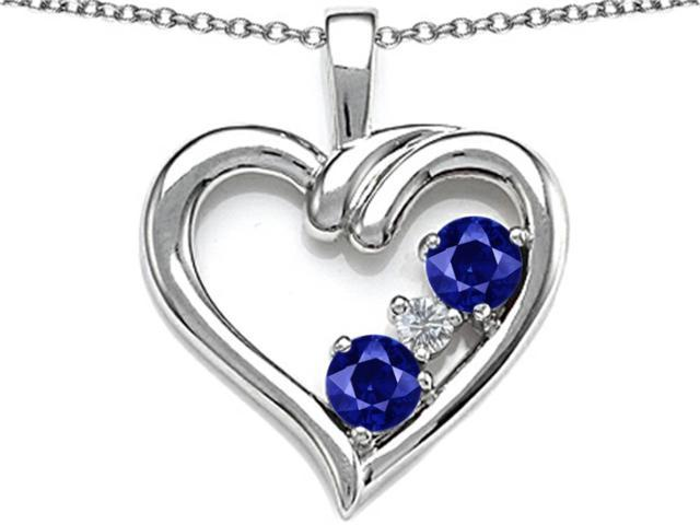 Star K Open Heart 3 Stone Pendant Necklace with Created Blue Sapphire in Sterling Silver