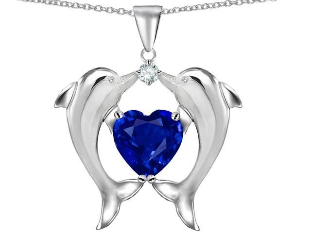 Star K Kissing Love Dolphins Pendant with 8mm Heart Shape Created Sapphire in Sterling Silver