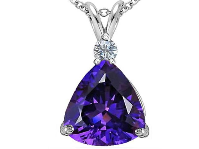 Star K Large 12mm Trillion Cut Simulated Amethyst Pendant Necklace in Sterling Silver