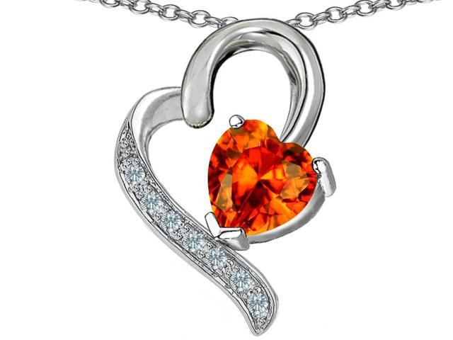 Star K 7mm Heart Shape Simulated Mexican Fire Opal Heart Pendant in Sterling Silver