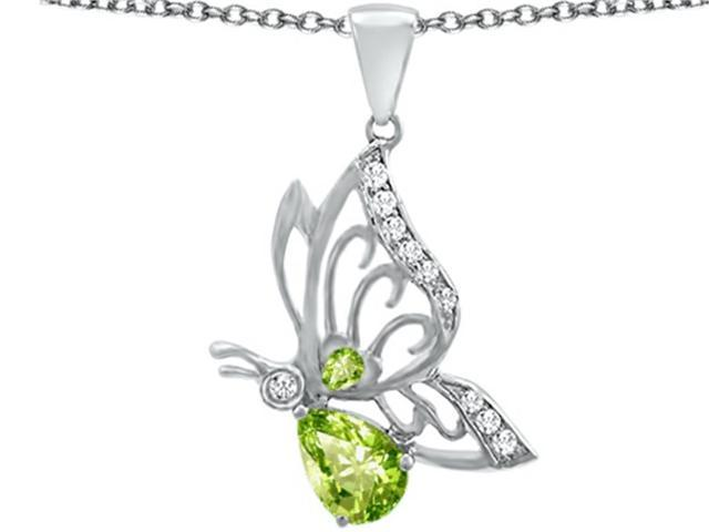 Star K Butterfly Pendant Necklace with 9x6mm Pear Shape Simulated Peridot and Cubic Zirconia in Sterling Silver