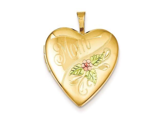 1/20 Gold Filled 20mm Enameled Mom Heart Locket Necklace Chain Included