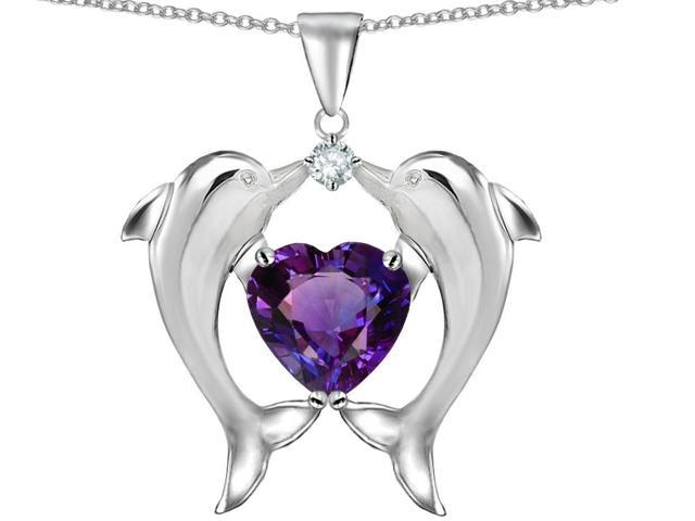 Star K Kissing Dolphins Pendant Necklace with Heart Shape Simulated Amethyst in Sterling Silver