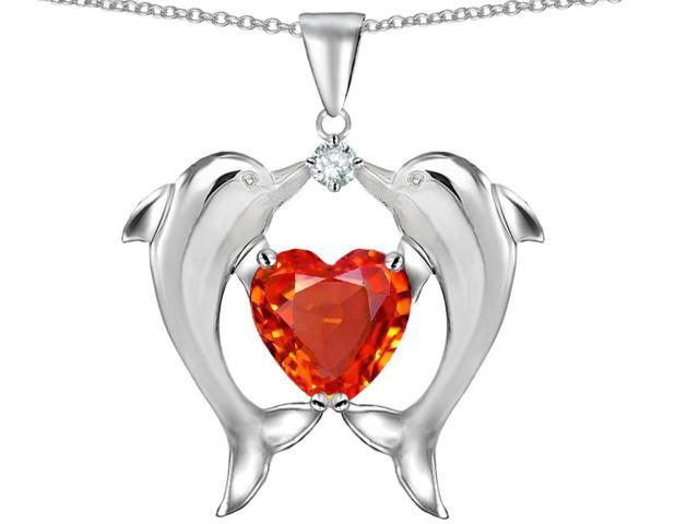 Star K Kissing Dolphins Pendant with Heart Shape 8mm Simulated Mexican Orange Fire Opal in Sterling Silver