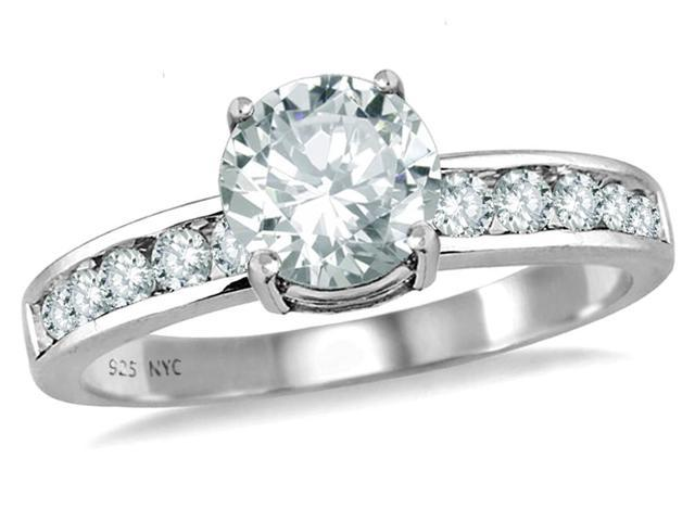 Star K Round 7mm Genuine White Topaz Ring in Sterling Silver Size 6