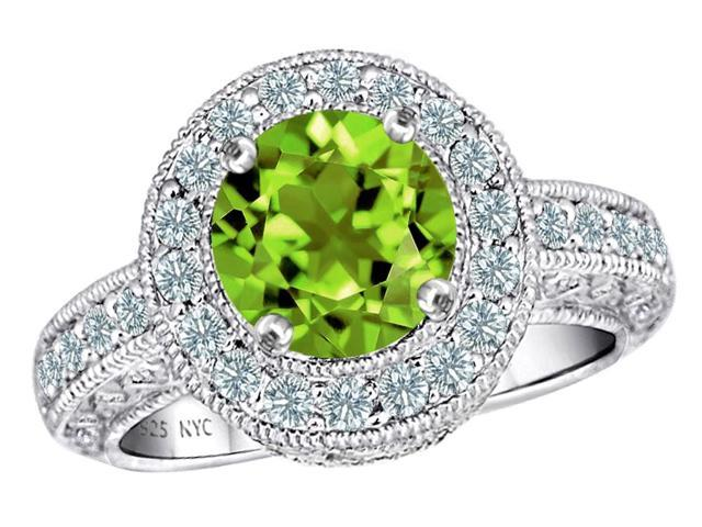 Star K 7mm Round Simulated Peridot and Cubic Zirconia Ring in Sterling Silver Size 8