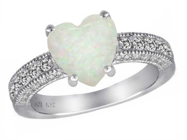 Star K Heart Shape 8mm Simulated Opal Ring in Sterling Silver Size 7