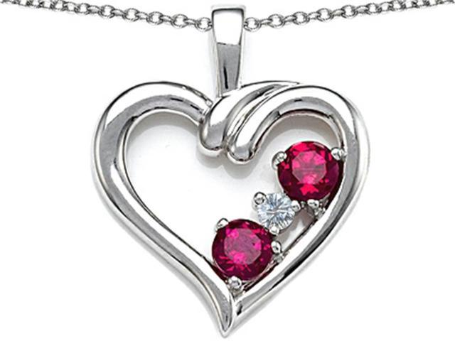 Star K Open Heart 3 Stone Pendant with Created Ruby in Sterling Silver