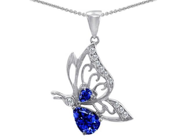 Star K Butterfly Pendant with Pear Shape Created Sapphire in Sterling Silver