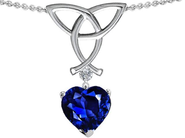 Star K Love Knot Pendant Necklace with 8mm Heart Shape Created Sapphire in Sterling Silver