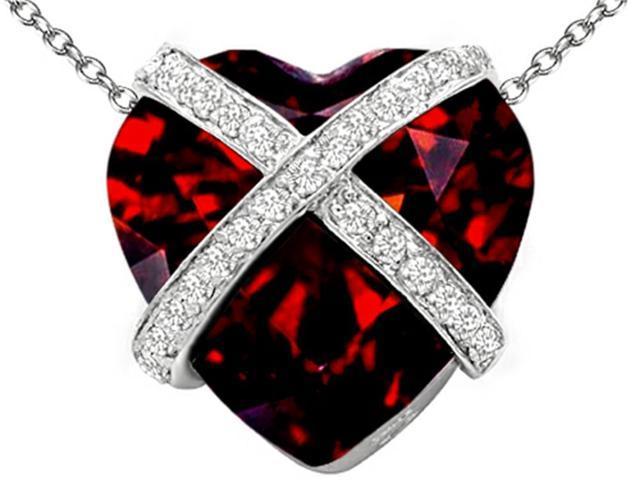 Star K Large Prisoner of Love Heart Pendant with 15mm Heart Shape Simulated Garnet in Sterling Silver