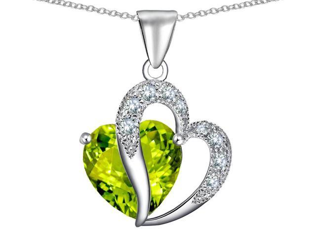 Star K Heart Shape 12mm Simulated Peridot and Cubic Zirconia Pendant Necklace in Sterling Silver