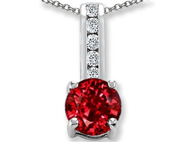 Star K Round 7mm Created Ruby Pendant in Sterling Silver