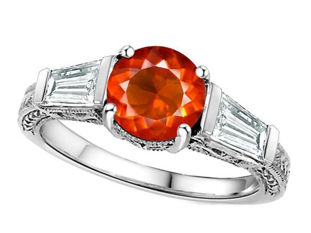 Star K Round 7mm Simulated Orange Mexican Fire Opal Ring in Sterling Silver Size 5