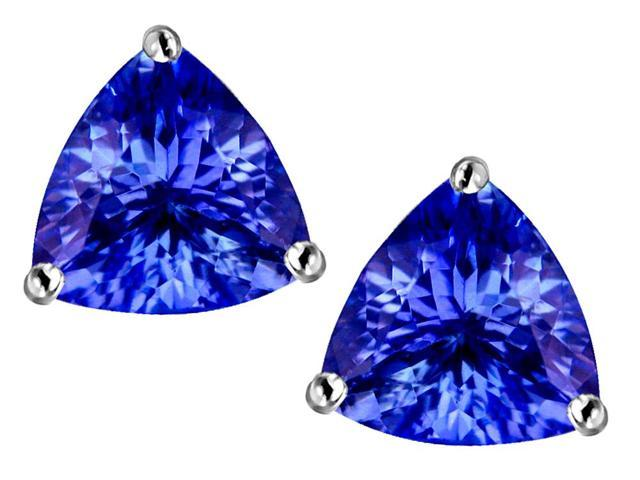 Star K Trillion 7mm Simulated Tanzanite Earrings Studs in Sterling Silver