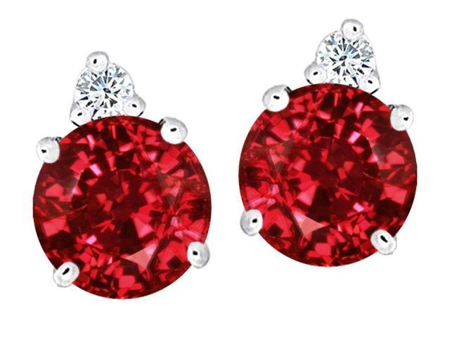 Star K Round 7mm Created Ruby Earrings Studs in Sterling Silver