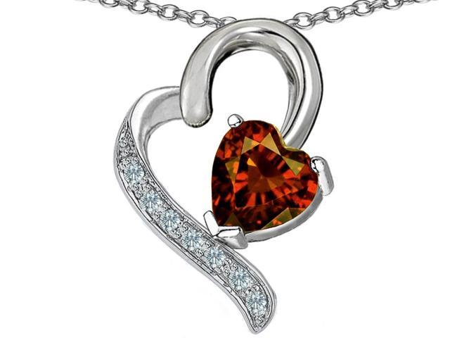 Star K 7mm Heart Shape Simulated Garnet Pendant Necklace in Sterling Silver
