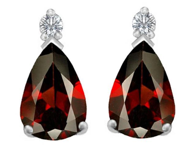 Star K 8x6mm Pear Shape Simulated Garnet Earrings Studs in Sterling Silver