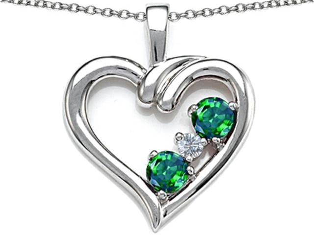 Star K Open Heart 3 Stone Pendant Necklace with Simulated Emerald in Sterling Silver