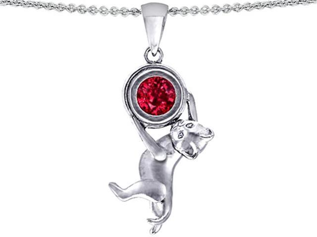 Star K Cat Lover Pendant Necklace with July Birth Month Round 7mm Created Ruby in Sterling Silver