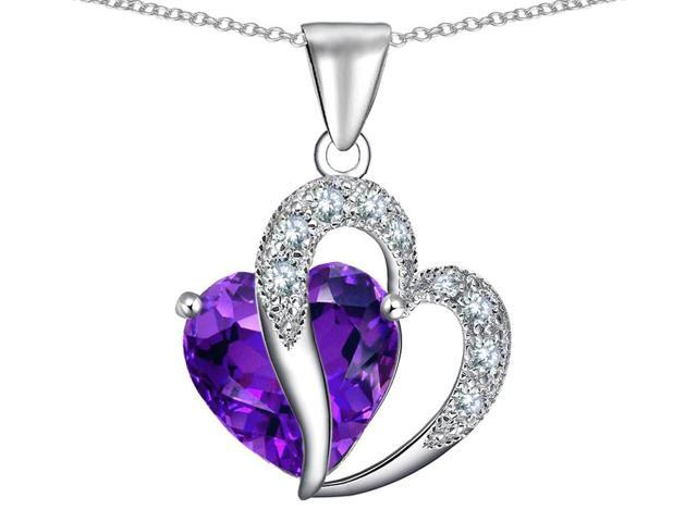 Star K Heart Shape 12mm Simulated Amethyst Pendant in Sterling Silver