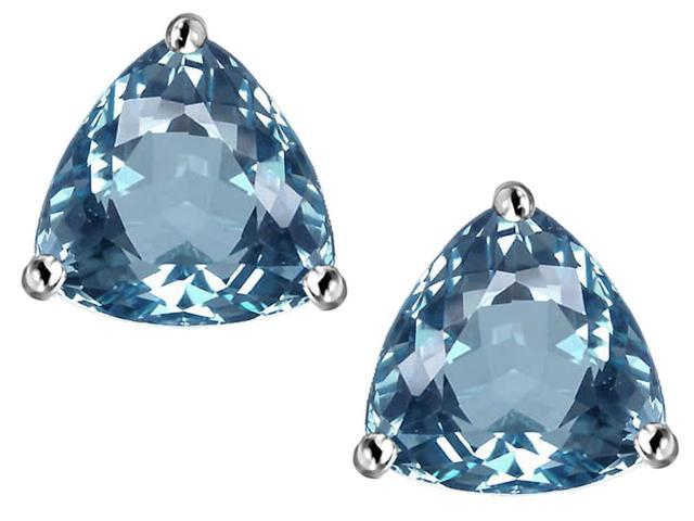 Star K Trillion 7mm Simulated Aquamarine Earrings Studs in Sterling Silver