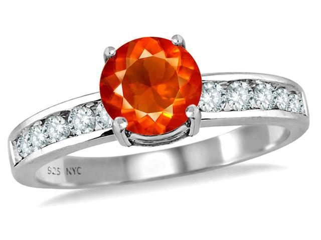 Star K Round 7mm Simulated Mexican Fire Opal Ring in Sterling Silver Size 8