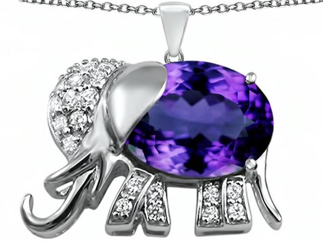 Star K Large 12x10mm Oval Simulated Amethyst Good Luck Elephant Pendant Necklace in Sterling Silver
