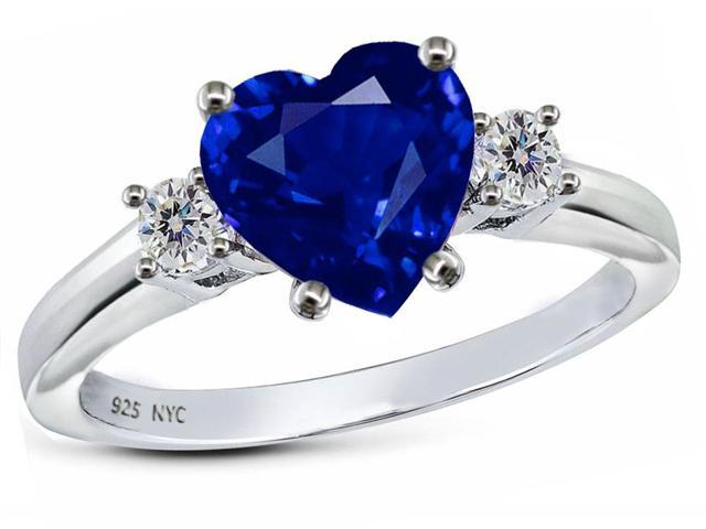 Star K 8mm Heart Shape Created Sapphire Ring in Sterling Silver Size 5