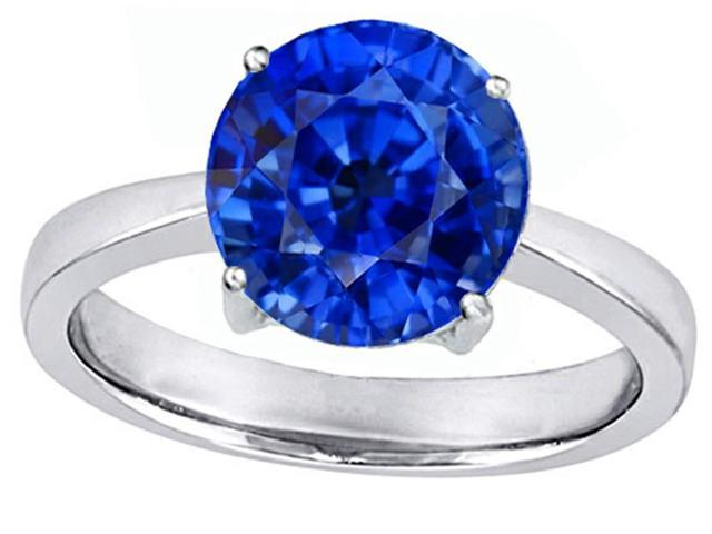 Star K Large Solitaire Big Stone Ring with 10mm Round Created Sapphire in Sterling Silver Size 7