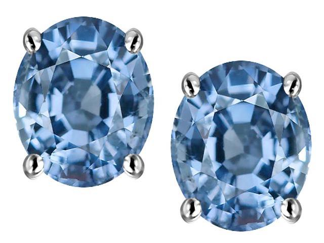 Star K Oval 8x6mm Simulated Aquamarine Earrings Studs in Sterling Silver