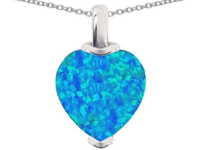Star K 10mm Heart Shape Blue Created Opal Pendant Necklace in Sterling Silver