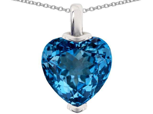 Star K 10mm Heart Shaped Simulated Blue Topaz Pendant in Sterling Silver