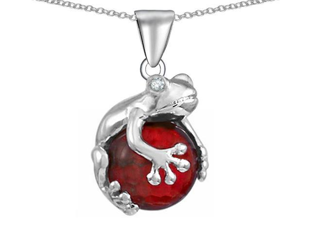 Star K Frog Pendant with 10mm Simulated Ruby Ball in Sterling Silver
