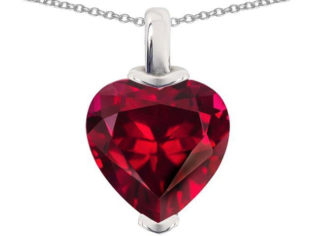 Star K 10mm Heart Shaped Created Ruby Pendant Necklace in Sterling Silver