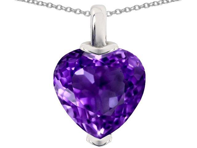 Star K 10mm Heart Shaped Simulated Amethyst Pendant Necklace in Sterling Silver