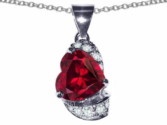 Star K Heart Shape 8mm Created Ruby Pendant in Sterling Silver