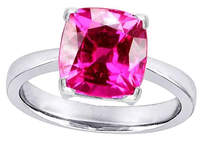 Star K Large 10mm Cushion Cut Solitaire Ring with Created Pink Sapphire in Sterling Silver Size 7