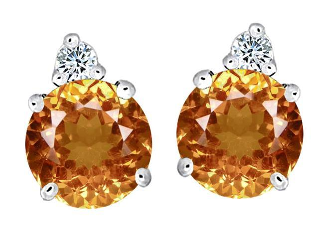 Star K Round 7mm Simulated Imperial Yellow Topaz Earrings Studs in Sterling Silver