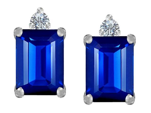 Star K 8x6mm Emerald Octagon Cut Created Sapphire Earrings Studs in Sterling Silver