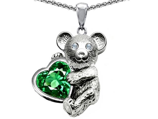 Star K Love Bear Hugging Birth Month of May 8mm Heart Shape Simulated Emerald in Sterling Silver
