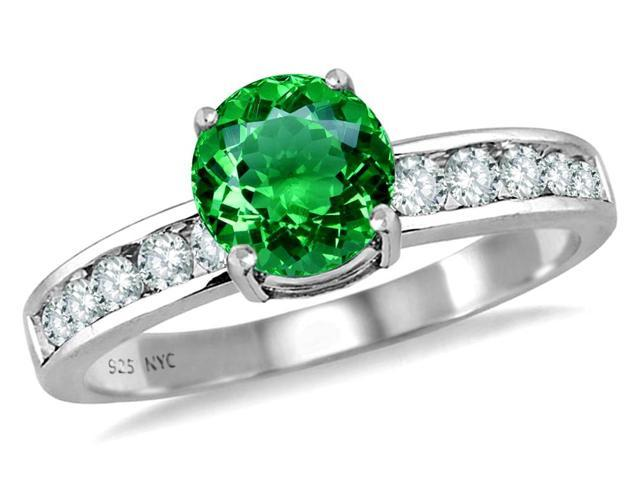 Star K Round 7mm Simulated Emerald Ring in Sterling Silver Size 8
