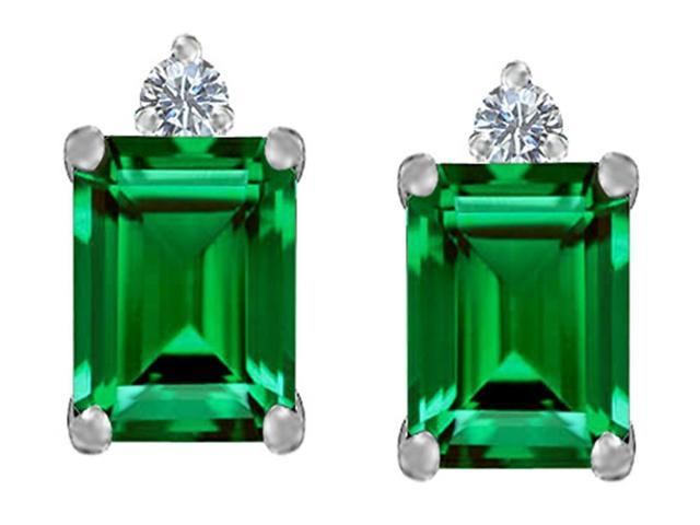 Star K 8x6mm Emerald Octagon Cut Simulated Emerald Earrings Studs in Sterling Silver