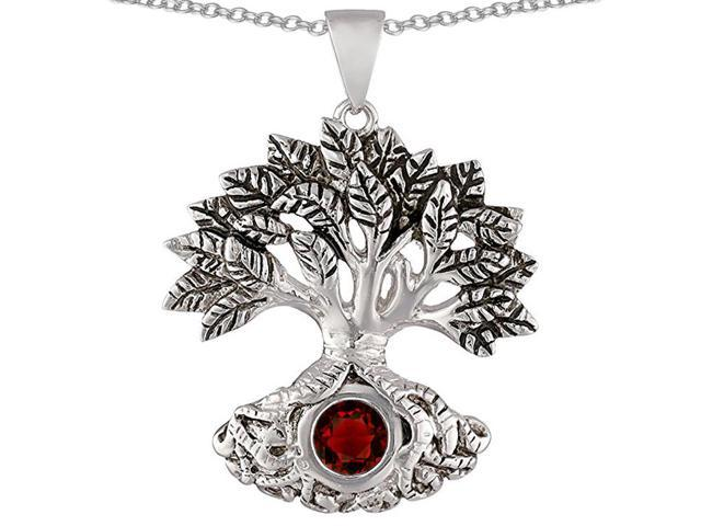 Star K Tree Of Life Good Luck Pendant with 7mm Round Simulated Garnet in Sterling Silver