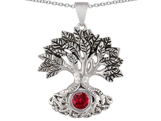 Star K Tree Of Life Good Luck Pendant Necklace with 7mm Round Created Ruby in Sterling Silver