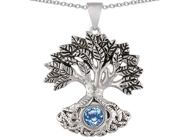 Star K Tree Of Life Good Luck Pendant with 7mm Round Simulated Aquamarine in Sterling Silver
